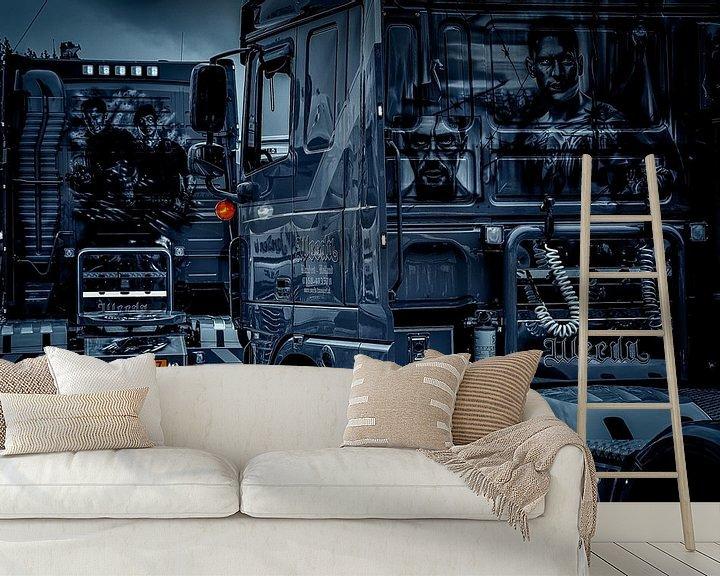 Beispiel fototapete: Zwei einzigartige Lastwagen in schwarz-weiß... von Nico van der Hout