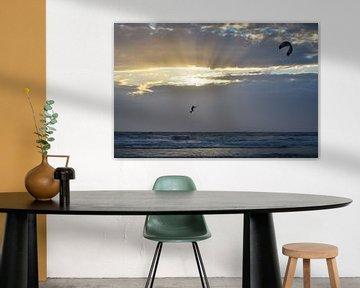 Kitesurfen bei Sonnenuntergang von Martin Jansen
