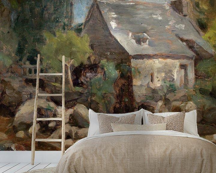 Sfeerimpressie behang: José Ferraz de Almeida Junior~Rustieke landschap met een brug en huizen