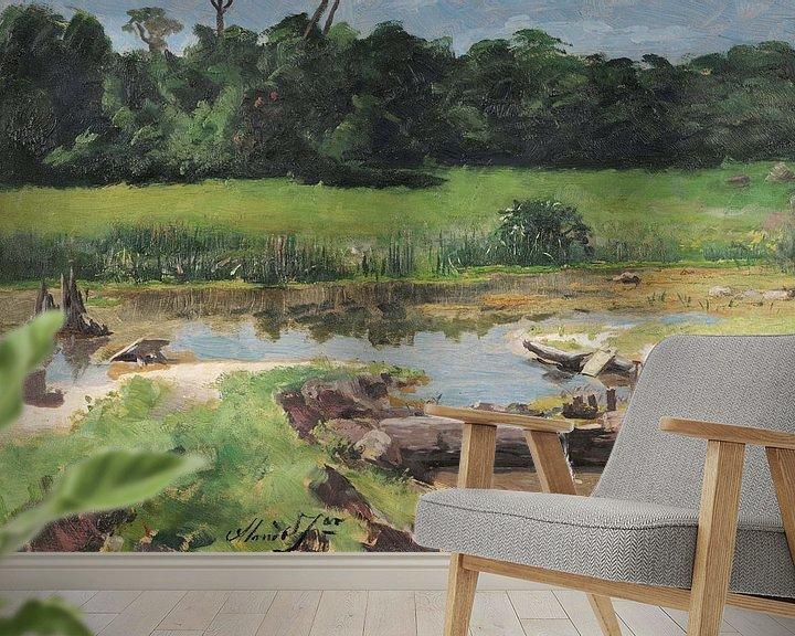 Sfeerimpressie behang: José Ferraz de Almeida Júnior~Rivier landschap [Landschap Rivier]