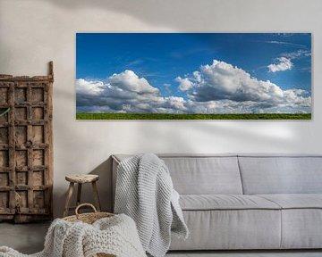 Wolken boven de vers gemaaide IJssel dijk panorama van Peter Hermus