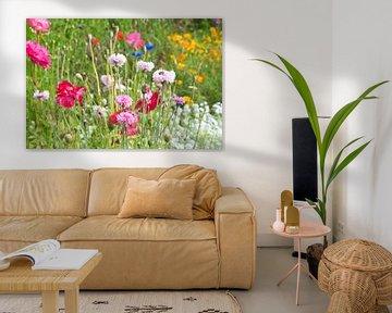 Wildrosa Blumen auf dem Feld von J..M de Jong-Jansen