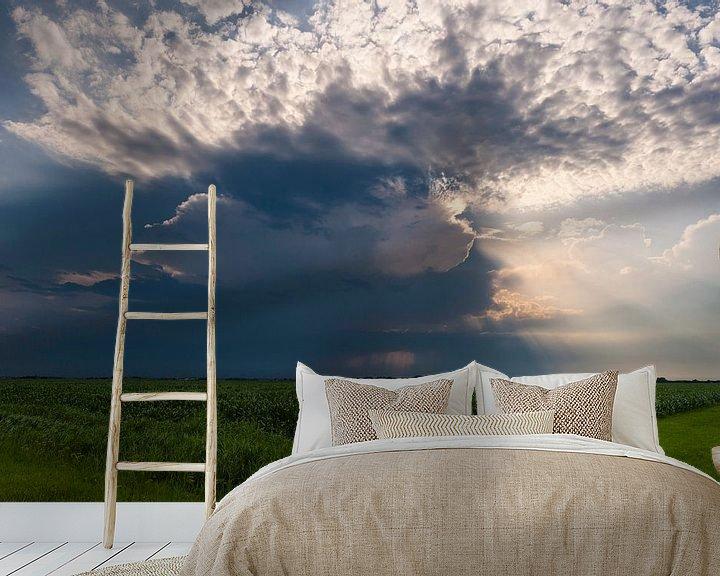 Sfeerimpressie behang: Onweer over het landschap van Brian Morgan