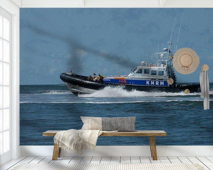 Beispiel fototapete: KNRM im Einsatz im Wattenmeer. von Brian Morgan