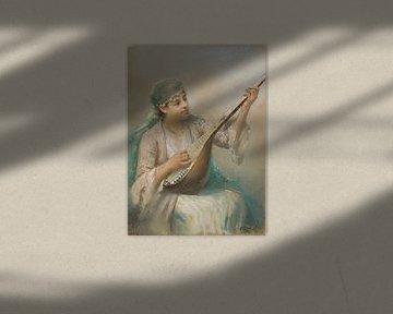 Fausto Zonaro Frau spielt ein Streichinstrument