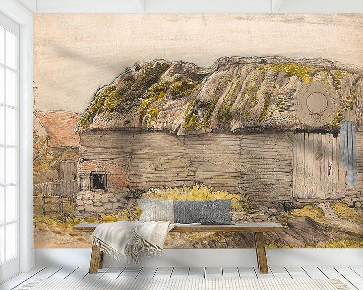 Sfeerimpressie behang: Samuel Palmer-Een schuur met een Mossy Daf, Shoreham