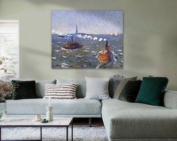 William James Glackens (Amerikaner, 1870-1938)-Breezy Day, Schlepper, New Yorker Hafen