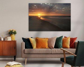 Zonsondergang aan het strand van Texel