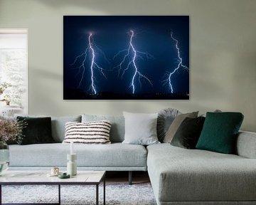 Drei Blitzeinschläge in Folge von Menno van der Haven