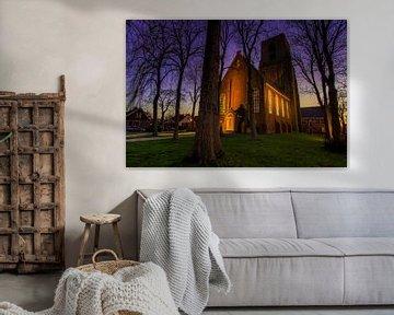 Kirche (Turm) von Ransdorp bei Sonnenuntergang (Goldene Stunde) von Jeffrey Steenbergen