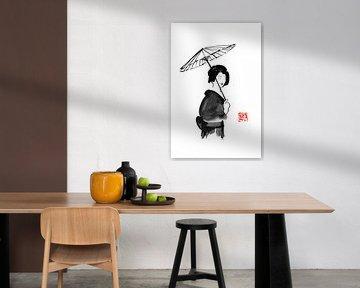 geisha onder paraplu van Péchane Sumie