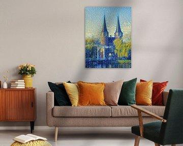 Schilderij Oostpoort Delft in stijl Van Gogh