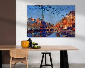 Sfeervol Schilderij Rapenburg Leiden met Nonnenbrug en Academiegebouw
