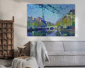 Rapenburg Leiden met Nonnenbrug en Academiegebouw in stijl Van Gogh