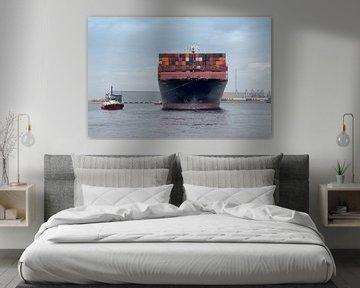 Containerschip naar Rotterdam van Karin vd Waal