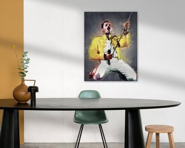 Freddie Mercury live in concert oilpaint van Bert Hooijer