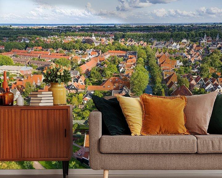 Sfeerimpressie behang: Luchtfoto Edam van Jeroen Kleiberg