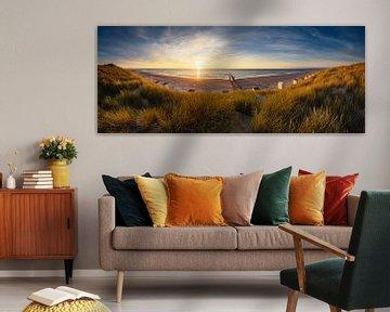 Panorama strand de Manteling bij Domburg van Thom Brouwer