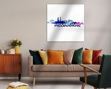 Melbourne Australien Skyline Scherenschnitt von Markus Bleichner