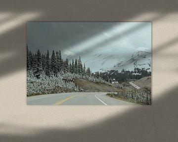 Icefields Parkway Canada avec de la neige sur Map of Joy