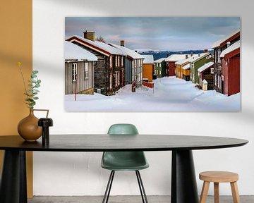 Winter in Røros, Noorwegen van Adelheid Smitt