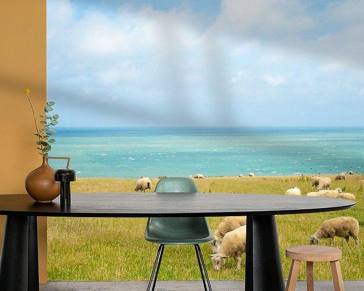 Beispiel fototapete: sheep with sea view von Marcel Derweduwen
