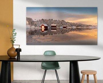 Bootshäuser im Winter auf Senja, Norwegen von Adelheid Smitt