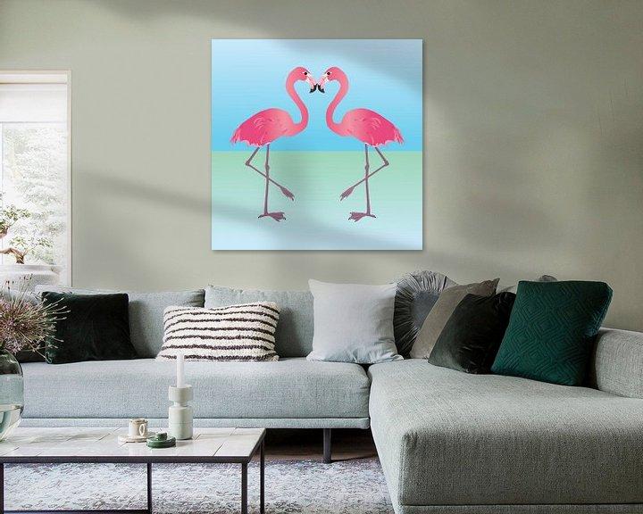 Beispiel: Zwei rosa Flamingos von Bianca Wisseloo