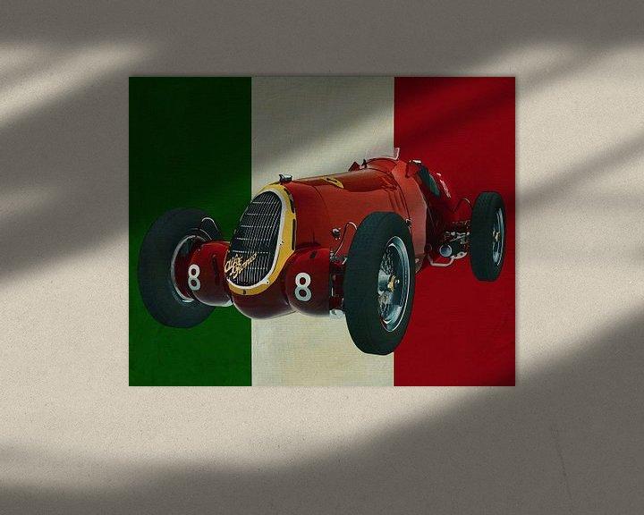 Sfeerimpressie: Alfa Romeo 8c uit 1935 met de Italiaanse vlag van Jan Keteleer