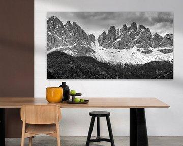 Odle Bergmassiv in Schwarz-Weiss, Dolomiten, Italien von Henk Meijer Photography