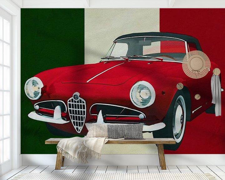 Sfeerimpressie behang: Alfa Romeo Guilietta 1300 Spyder uit 1955 puur Italiaanse stijl van Jan Keteleer