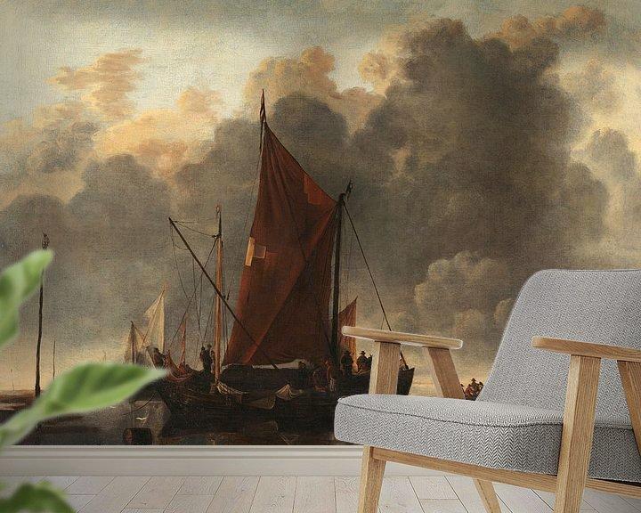 Sfeerimpressie behang: Schepen op een rustige zee, Jan van de Cappelle