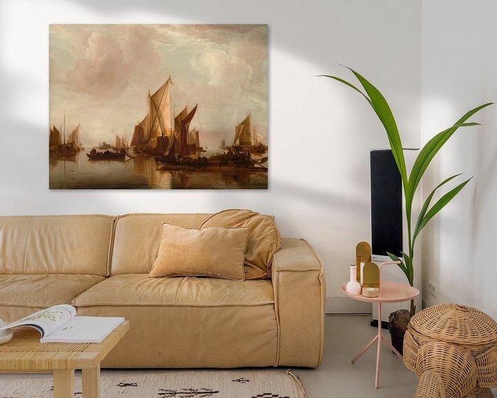 Sfeerimpressie: Een Staatsjacht en andere vaartuigen in kalm water, Jan van de Cappelle