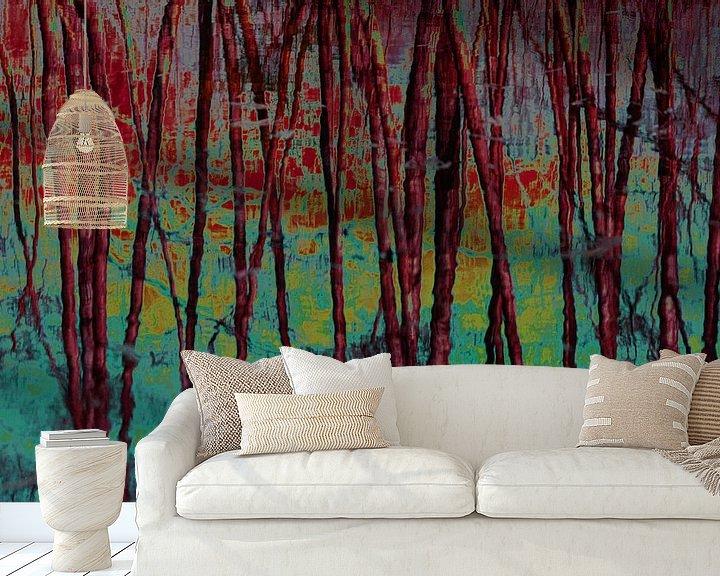 Sfeerimpressie behang: Dancing trees van Ina Muntinga