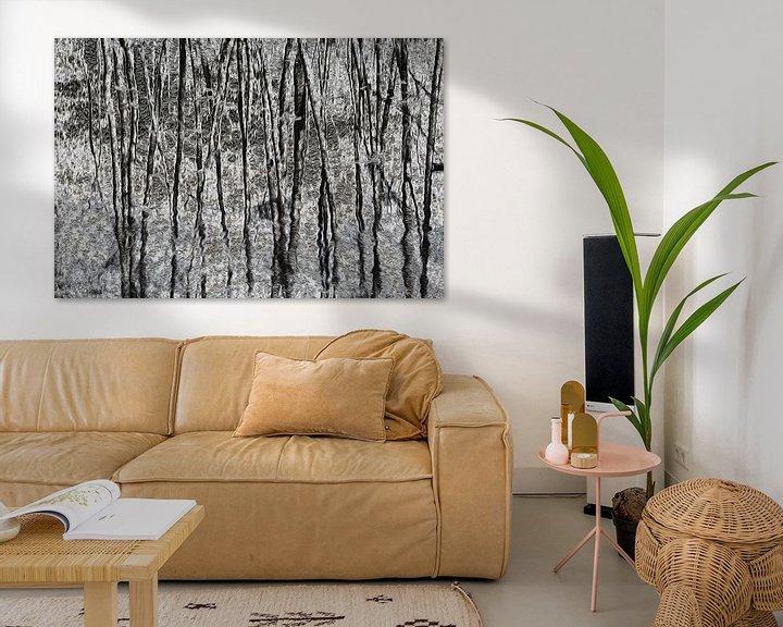 Sfeerimpressie: Dancing trees in black and white van Ina Muntinga