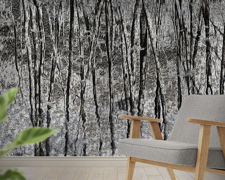 Sfeerimpressie behang: Dancing trees in black and white van Ina Muntinga