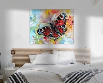 Schmetterling Pfau Malerei von Jos Hoppenbrouwers