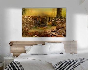 Waterloopbos Marknesse mystiek, oil paintlook van Marcel Kieffer