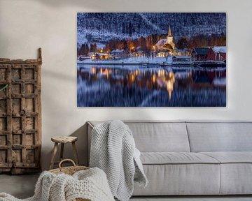 Rognan in winter, Noorwegen van Adelheid Smitt