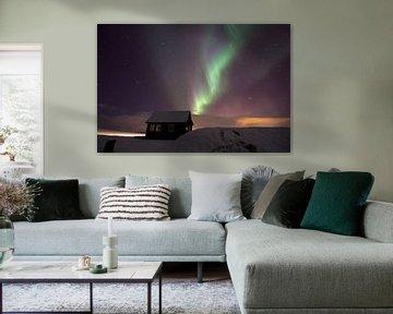 Poollicht boven IJsland. van Leon Eikenaar