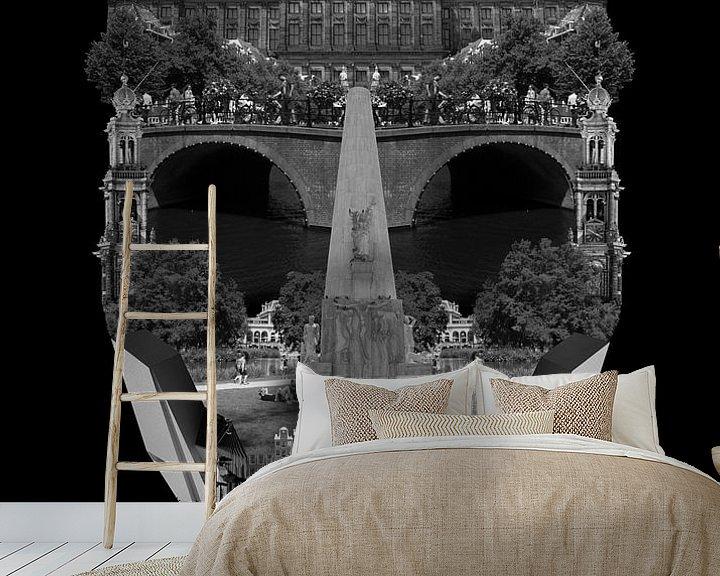 Sfeerimpressie behang: AMSTERDAM CITY PORTRAIT - BLACK van City Creatives