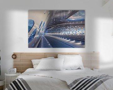 Verlichte Parkbrug bij nacht, Antwerpen van Tony Vingerhoets