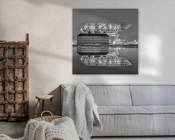 La maison du port d'Anvers la nuit se reflète dans un étang sur Tony Vingerhoets
