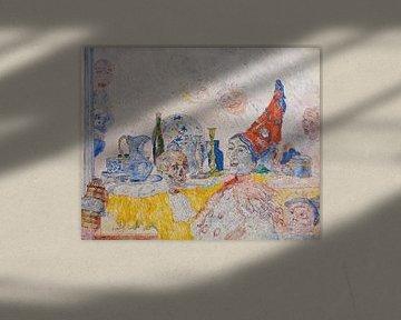 James Ensor. Pierrot und Skelett im gelben Talar