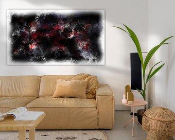 Abstract zwart rood wit van Maurice Dawson