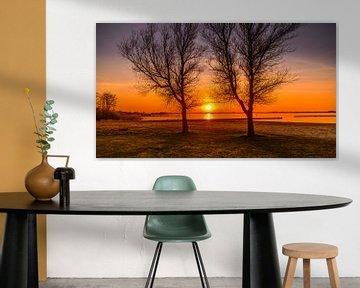 Peinture du lac au coucher du soleil sur Johan van der Linde