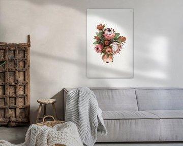 Stilleben mit rosa Blumen von Lotte de Graaf