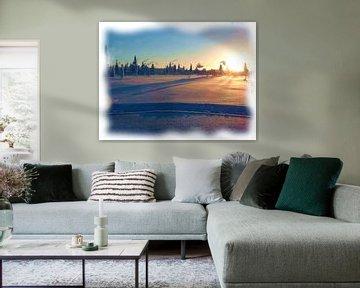 Arctisch winter zonsondergang van Maurice Dawson