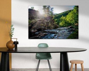 Bovenop een waterval in Noorwegen van Ellis Peeters