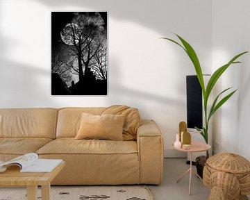 Mondschein durch die Bäume von Jan van der Knaap